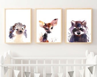 Original Raccoon Watercolour Fine Art Print, Woodlands Nursery Art, Raccoon Wall Decor, Baby Animal Print, Printable Digital Download