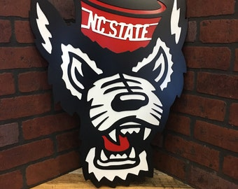 "24"" NC State Wolfpack Tuffy head - handmade custom metal wall art"
