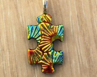 Dichroic Fused Glass Pendant - Rainbow Starburst Texture Puzzle Pendant