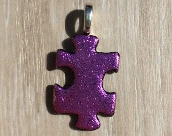 Dichroic Fused Glass Pendant - Pink Puzzle Pendant