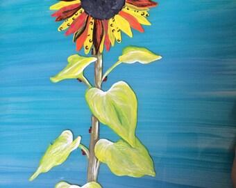 Custom hand painted daisy on glass