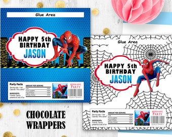 Spiderman chocolate wrappers Hershey wraps wrappers Digital printable wrappers