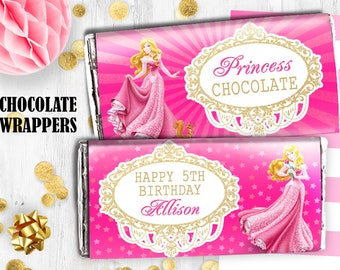 Disney Princess Aurora Chocolate bar wrappers Hershey bar wrappers Princess birthday