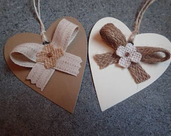 Handmade Heart Gift Tags - Any Occasion - Wedding - Birthday - Anniversary - Thank you - Set of 5 Card Gift Tag.