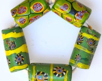 5 Old Venetian Green Millefiori Beads - Vintage African Trade Beads - #7639