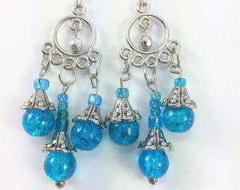 Aqua blue chandelier earrings #82