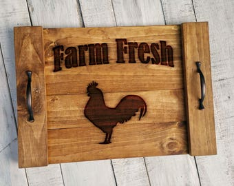 Farmhouse Tray - Farmhouse Style Decor - Farmhouse Wood Decor - Wood Farm Tray - Rustic Wood Tray - Tray with Handles - Farm Fresh