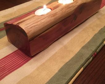 Cedar Log Candle Light Holder