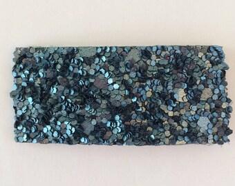 Denim blue glitter snap clip OR alligator clip