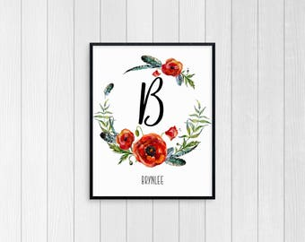 8 x 10 Custom Initial Poppy Collection Wildflower Baby Girl Nursery DIGITAL Print