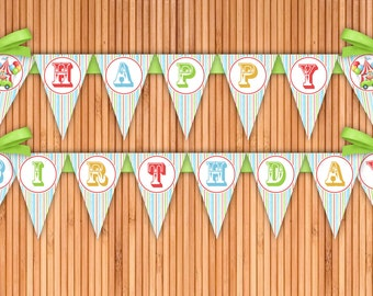 Circus - Birthday Party Happy Birthday Printable Banner - Instant Download