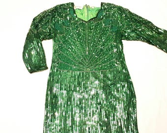 "ALLOSAURUS 1980's ""Dominique"" long sleeve knee length silk beaded and sequined dress. Sz Med"