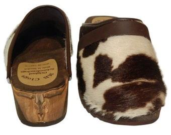 Original Sweden clogs of cow hide clogs carved Bull's head