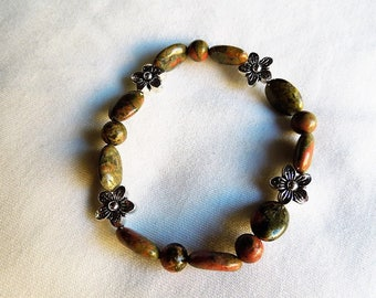 Dark unakite bead bracelet with silver accents
