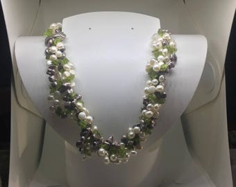 Multi Strand Pearl and Peridot Necklace