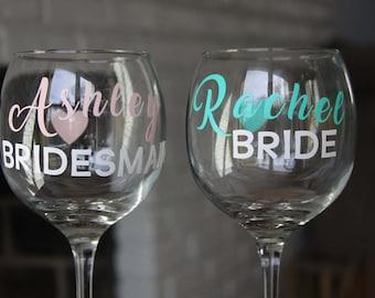 Bridesmaid Glasses, Wine glasses, bridesmaid wine glasses, bridal party wine glasses, wine glass favor, personalized wine glass, bride glass