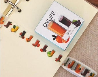 Refreshing Fruit Juice Washi Tape, Masking Tape ~ Delicioius Fruit Drinks Washi Stickers, Scrapbooking Stickers, DIY, Crafts Decorative Tape