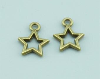 250pcs 13x10mm Antique Bronze Star Charm Pendants Z3680