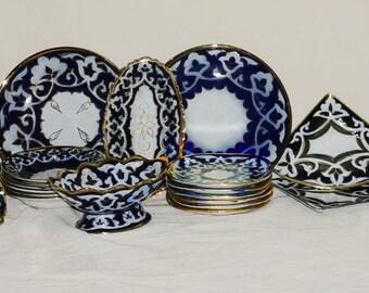 long traditional blue uzbek large pottery set pakhta handmade 40 pieces new!!! 471