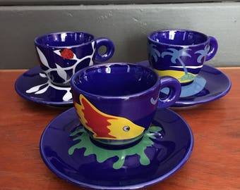 Six Luca Trazzi 90s Cups and Saucers