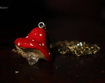 Red Cap Quartz Point Mushroom Crystal Pendant