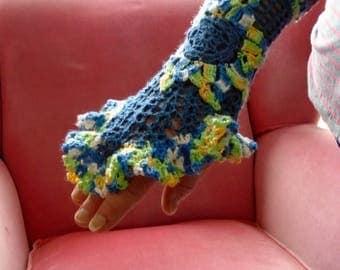 Irish Crochet Wrist Cuff- Blue