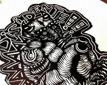 Dissident-engraving on LINOLEUM-printing.