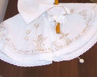 Christening mantle. Linnen or silk mantle / cape. White batiste, baptism, baby, boy, girl, full circle cloak, coat.