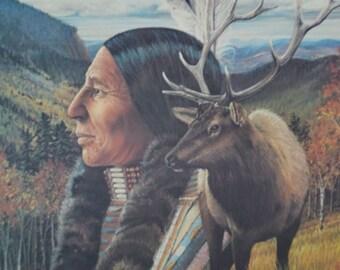 Vintage Native American Indian Print by Julie Kramer Cole Indian Prayer