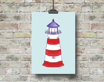 Lighthouse Art, Lighthouse Print, Kids Beach Art, Nautical Nursery, Nautical Kids Room, Kids Gift, Kids Art, Kids Prints