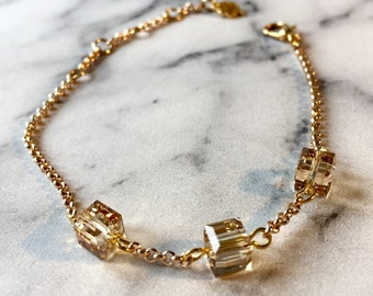 Gold Bracelet with swarovski cube