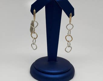 Silver and 18K Royal Yellow Textured Link Earrings