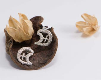 "Earrings Silver ""Saz"". Small earrings. Original earrings. Embroidered Silver earrings."