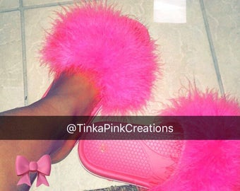 Pink Fur slide with pink shoe