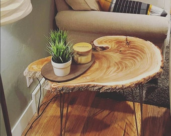 Live Edge Elm Wood End Table w/ Hairpin Legs