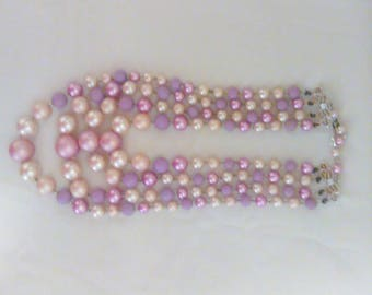 Vintage Faux Pearl Four layers Necklace Pink, purple white