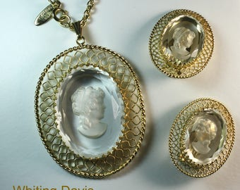 Vintage Whiting and Davis Cameo Necklace and Earring Set.  Signed.