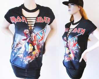 Iron Maiden deep v ripped top S-XL band tee