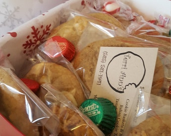 Freshly baked cookies by the dozen in a gift box