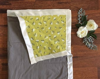 Quilted baby blanket, Mustard Yellow Floral