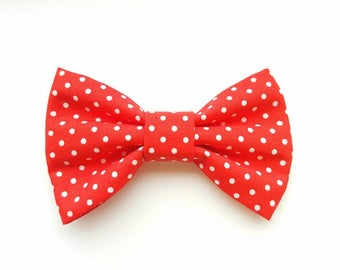 Red polka dot print handmade bow/ bowties for dog collars, shoes, clothing etc