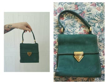 Vintage 1990s, vintage ROOTS, green purse, handbag, suede bag, leather bag, small bag