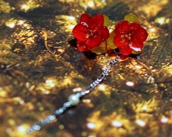 Poinsettia, Real flower earrings, Preserved flower earrings, earrings, Real flower jewelry