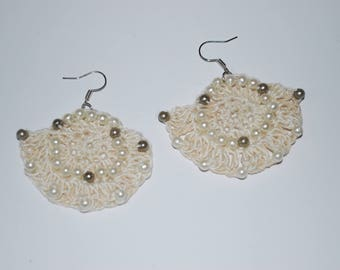 Drop and Dangle Earrings, Dangle Earrings. Beaded, White Beige Drop and Dangle Crochet Earrings, perfect Gift for Her.