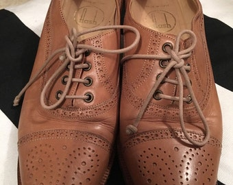 Vintage Style FLASH Tan Ladies Brogue Heel Shoes Size 4 (37)