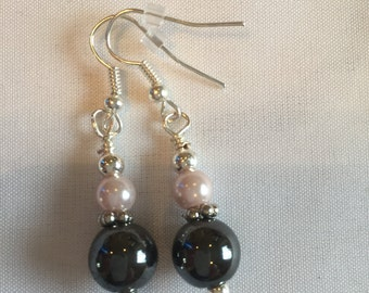 Smokey black and pink Pearl earrings