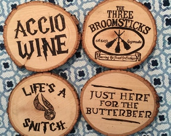 Harry Potter Handmade Wood Coasters - Wedding, Anniversary, Holiday, Birthday, Gift Idea, Custom
