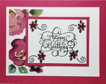 Birthday Card,Handmade Birthday Card, Handstamped Birthday Card, Stampin Up Birthday Card, Floral Birthday Card, Greeting Card, Card For Her