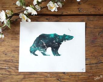Bear / linocut / printing / linocut, print / bear