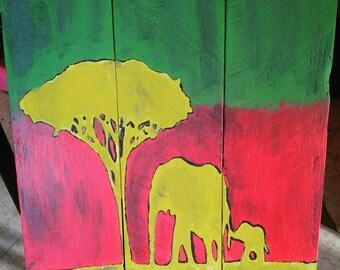 Rasta Colored Elephant Scene